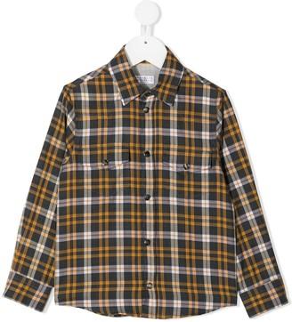 BRUNELLO CUCINELLI KIDS Check-Print Long-Sleeved Shirt