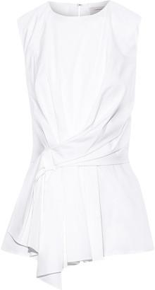 Carolina Herrera Asymmetric Knotted Stretch-cotton Poplin Top