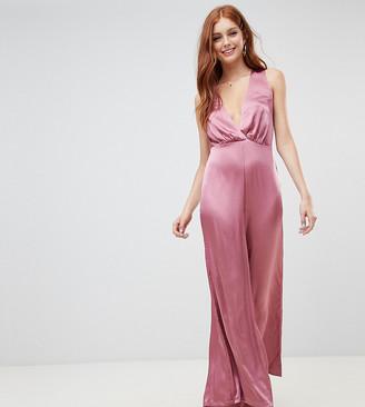 New Look Wide Leg Low Cut Jumpsuit-Pink