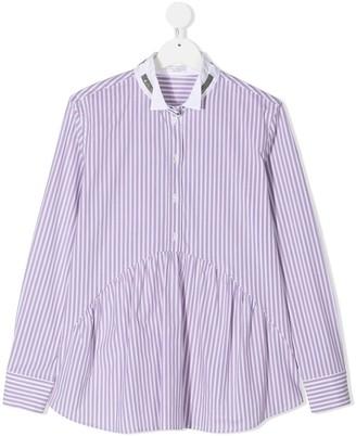 BRUNELLO CUCINELLI KIDS TEEN striped pleat shirt