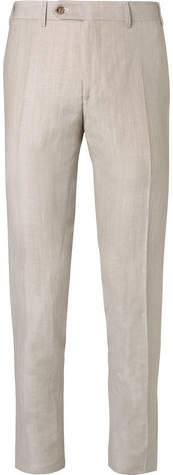 Canali Stone Slim-Fit Wool And Linen-Blend Suit Trousers