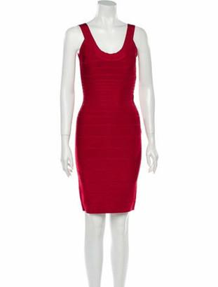 Herve Leger Scoop Neck Knee-Length Dress Red