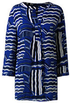Lands' End Women's Plus Size 3/4 Sleeve Pullover Tunic-Rich Sapphire Waves