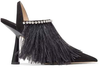 Jimmy Choo Ambre 100 Suede Ostrich Feather Slingback Pumps