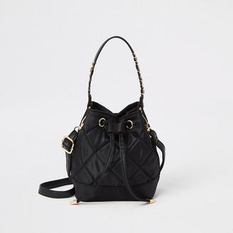 River Island Girls black quilted mini drawstring bag