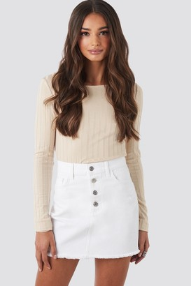 NA-KD Raw Hem Button Up Mini Skirt Black