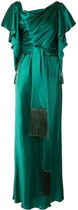 Dolce & Gabbana Cape Sleeves Tied Long Dress