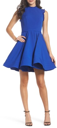Mac Duggal Ieena for  Embellished Ruffle Fit & Flare Dress