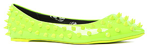 *Sole Boutique The Astrro Spiked Flat in Neon Green