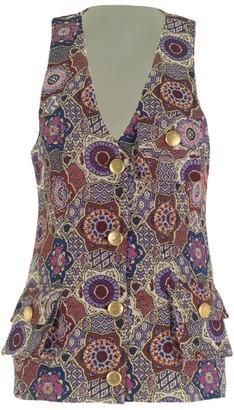 Multicolour Long Vest With Pockets