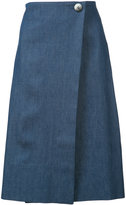Carolina Herrera denim wrap skirt - women - Silk/Cotton - 10