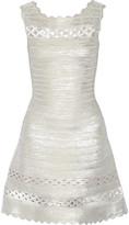 Herve Leger Dominica cutout metallic bandange mini dress