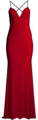 Faviana Jersey Twist-Back Gown