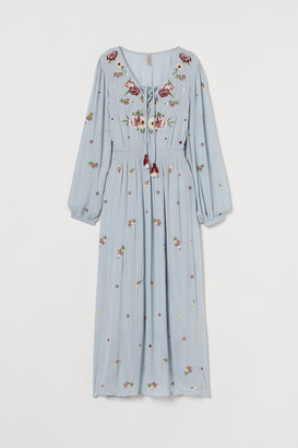 H&M Embroidered Dress - Blue