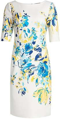Teri Jon by Rickie Freeman Floral Scuba Dress