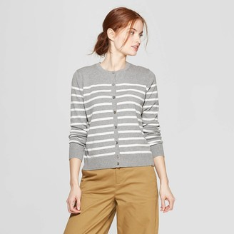 A New Day Women's Striped Long Sleeve Crew Neck Cardigan