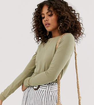 Asos Tall DESIGN Tall ultimate organic cotton crew neck long sleeve t-shirt in khaki-Green