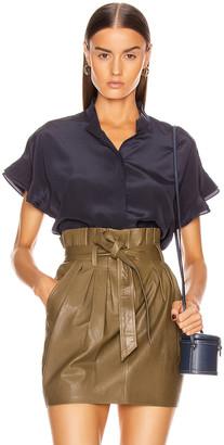 Frame Silk Flounce Short Sleeve Top in Navy | FWRD