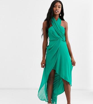 Asos Tall DESIGN Tall midi dress in soft chiffon drape with wrap neck-Green