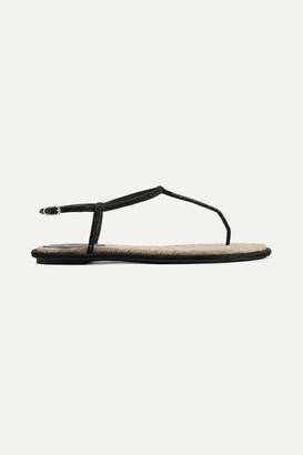 Rene Caovilla Diana Crystal-embellished Satin And Leather Sandals - Black