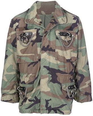R 13 Camouflage-Print Military Jacket