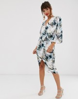 Asos Design DESIGN satin kimono midi dress with knot front and asymmetric sleeve in abstract print