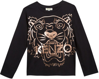 Kenzo Metallic Tiger Face Icon Long-Sleeve T-Shirt, Size 14-16
