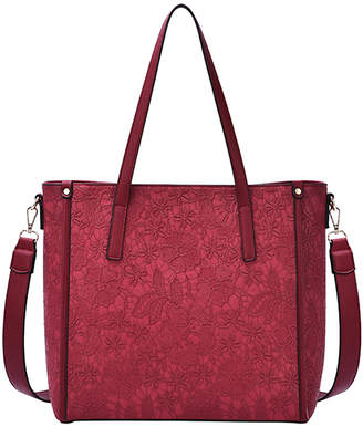 Mellow World Women's Totebags Maroon - Maroon Floral Embossed Holly Tote
