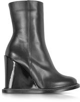 Jil Sander Black Leather Wedge Ankle Boot