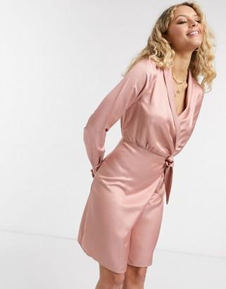 Object satin wrap mini dress in rose