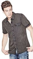 GUESS Men's Volund Pigment-Dyed Slim-Fit Poplin Shirt