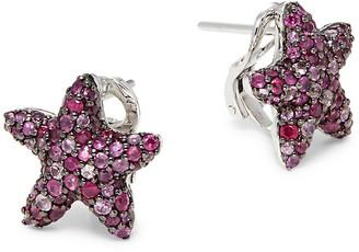 Effy Sterling Silver, Ruby & Sapphire Star Earrings