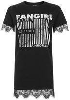 Topshop Fan girl lace tunic t-shirt
