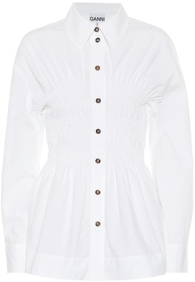 Ganni Ruched cotton-poplin shirt