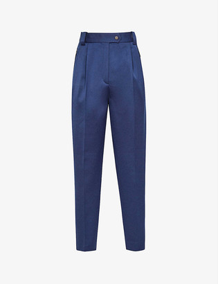 Reiss Satin-trimmed straight mid-rise crepe trousers