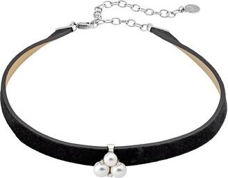 Majorica Women Black Cubic Zirconia Choker Necklace of Length 40cm 15724.01.2.000.010.1