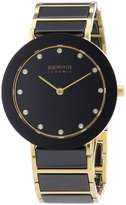 Bering 11435-741 35mm Gold Plated Stainless Steel Case Multicolor Ceramic Synthetic Sapphire Women's Watch