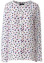 Lands' End Women's Petite Long Sleeve Button Front Blouse Pattern-Rich Sapphire Spots