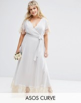 Asos WEDDING Lace Trim Maxi Dress