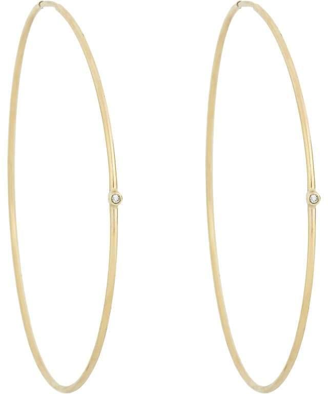 Jennifer Meyer Women's White Diamond & Gold Hoops