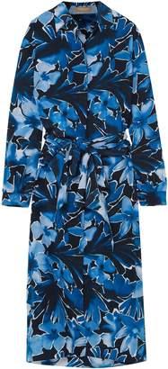 Michael Kors Printed Silk Crepe De Chine Midi Dress
