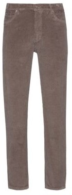 HUGO BOSS Tapered Fit Jeans In Overdyed Stretch Cotton Corduroy - Light Brown