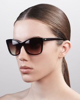 Cateye Gradient Sunglasses, Walnut