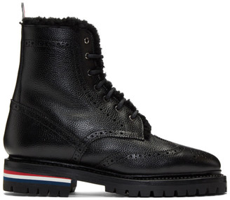 Thom Browne Black Shearling Classic Wingtip Boots