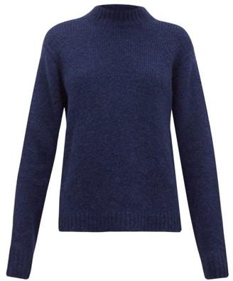 Tibi Cozette Mock-neck Alpaca-blend Sweater - Womens - Navy