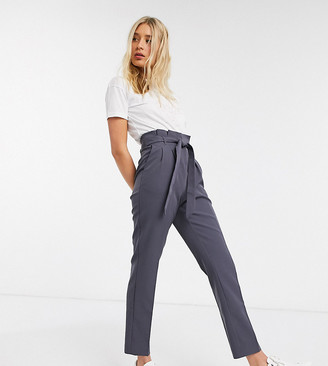 New Look Tall paperbag waist pants in dark gray