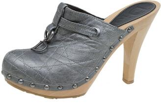 Christian Dior Grey Metallic Cannage Stitched Leather Platform Clogs Size 36.5