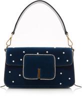 Wandler Georgia Faux Pearl-Embellished Velvet Shoulder Bag
