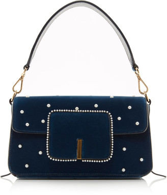 Wandler Georgia Faux Pearl-Embellished Velvet Shoulder Bag