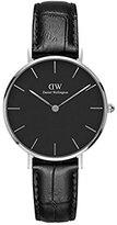 Daniel Wellington 'Classic Petite' Quartz Stainless Steel and Leather Casual Watch, Color:Black (Model: DW00100179)